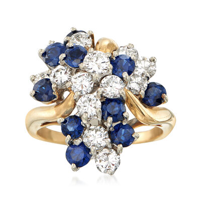 C. 1980 Vintage 1.95 ct. t.w. Diamond and 1.80 ct. t.w. Sapphire Cluster Ring in 18kt Yellow Gold, , default