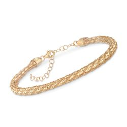 "Italian 14kt Gold Over Sterling Silver Woven Mesh Bracelet. 7"", , default"