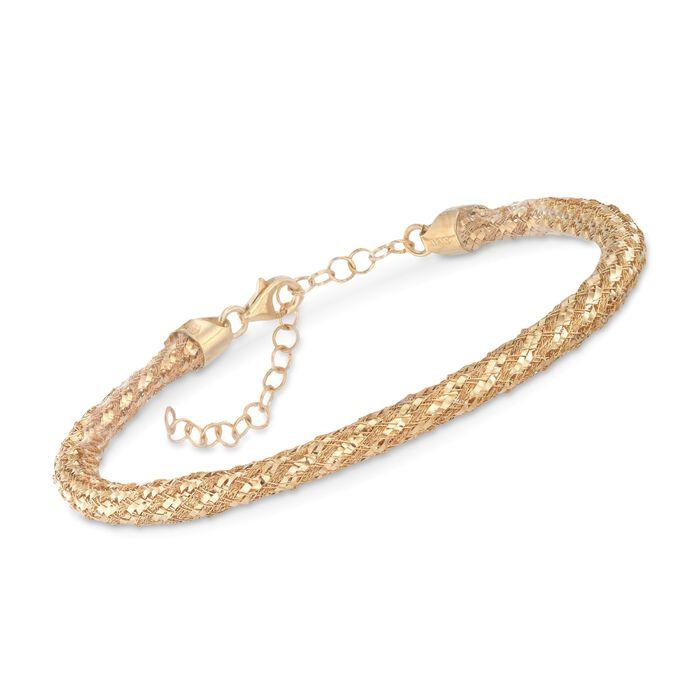 Italian 14kt Gold Over Sterling Silver Woven Mesh Bracelet
