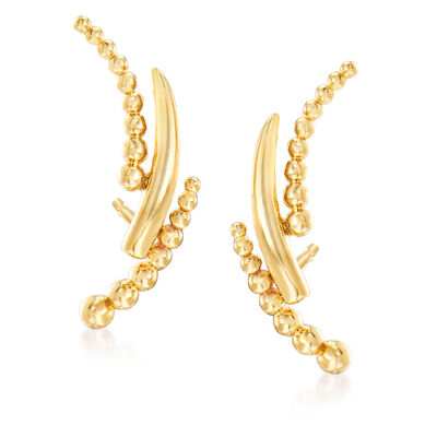 Gabriel Designs 14kt Yellow Gold Beaded Curve Stud Earrings