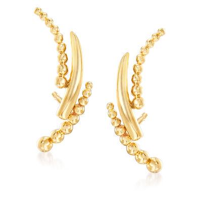 Gabriel Designs 14kt Yellow Gold Beaded Curve Stud Earrings