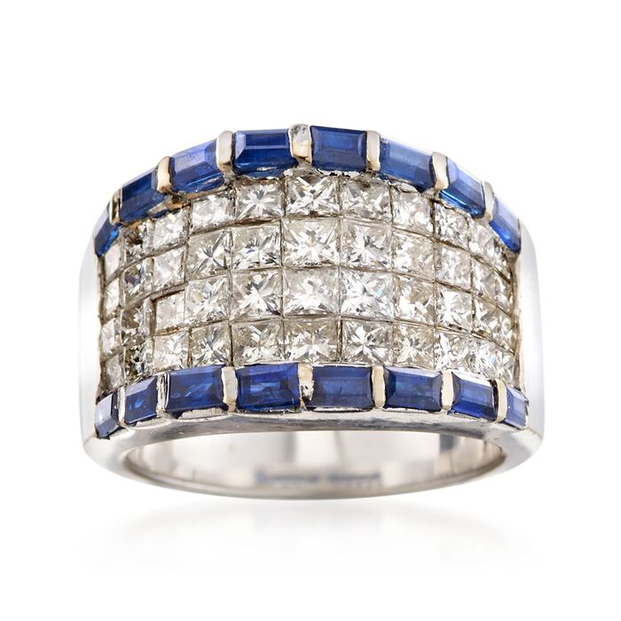 C. 1990 Vintage 2.70 ct. t.w. Diamond and 1.30 ct. t.w. Sapphire Ring in 18kt White Gold. Size 6, , default