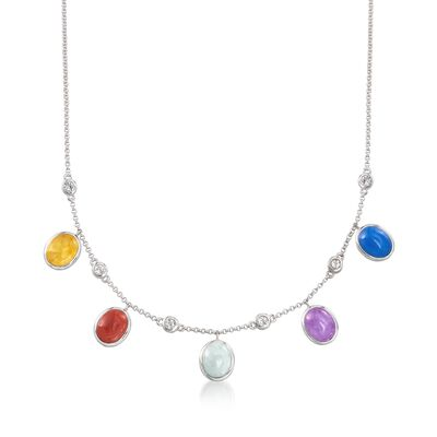 Multicolored Jade and .60 ct. t.w. White Topaz Drop Station Necklace in Sterling Silver, , default