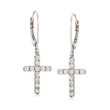 .55 ct. t.w. Diamond Cross Drop Earrings in 14kt White Gold, , default