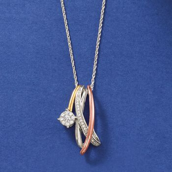 """.25 ct. t.w. Diamond Crisscross Necklace in Sterling Silver and 14kt Two-Tone Gold. 18"""", , default"""