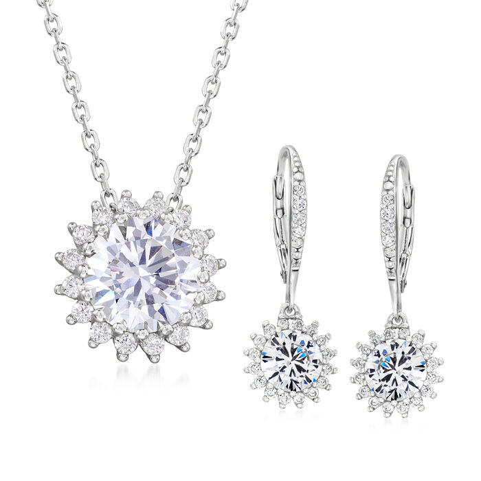 5.20 ct. t.w. CZ Jewelry Set: Flower Drop Earrings and Necklace in Sterling Silver. 16""