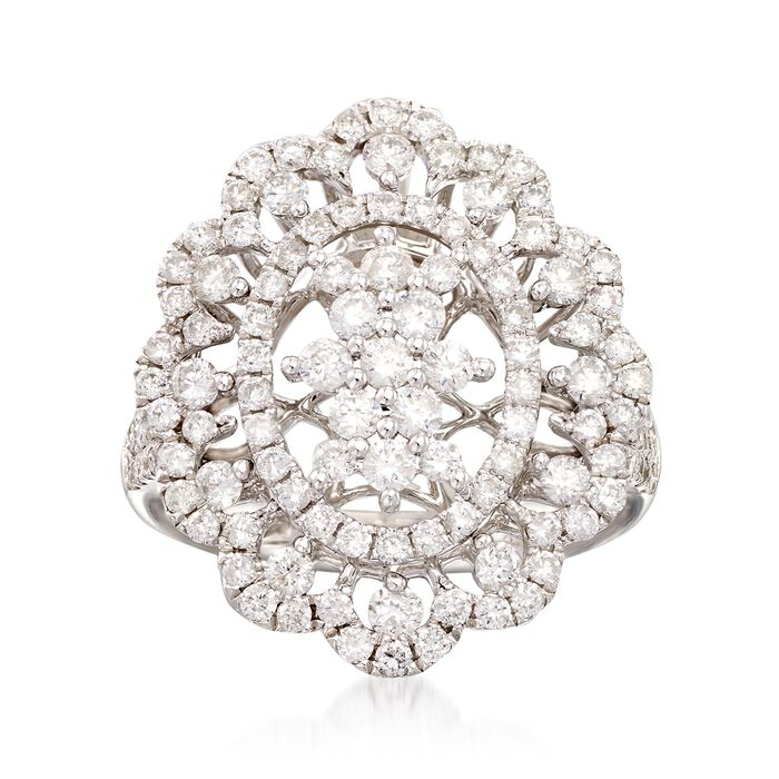 1.75 ct. t.w. Diamond Scallop-Edged Ring in 14kt White Gold, , default