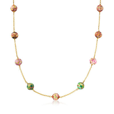 Italian Murano Glass Bead Station Necklace in 18kt Gold Over Sterling Silver, , default