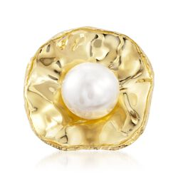 12mm Cultured Pearl Ring in Hammered 18kt Gold Over Sterling , , default