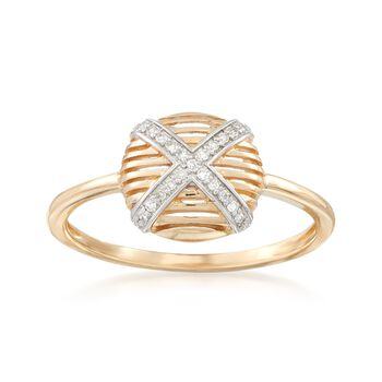 14kt Yellow Gold Crisscross Ring With Diamond Accents, , default