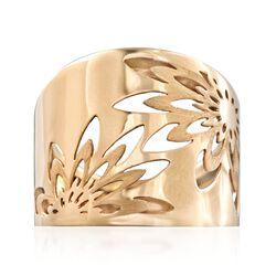 Italian 14kt Yellow Gold Openwork Floral Ring, , default