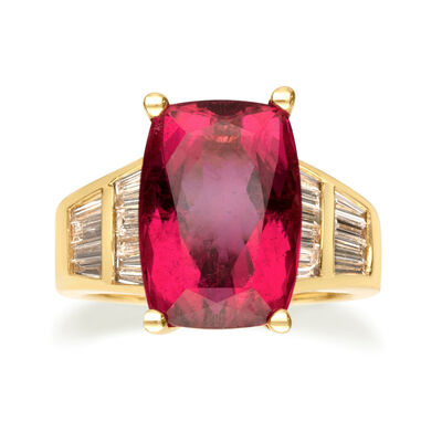 9.00 Carat Pink Tourmaline and .99 ct. t.w. Diamond Ring in 14kt Yellow Gold