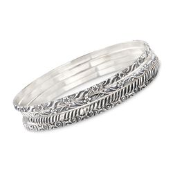 "Sterling Silver Jewelry Set: Four Bangle Bracelets. 7"", , default"