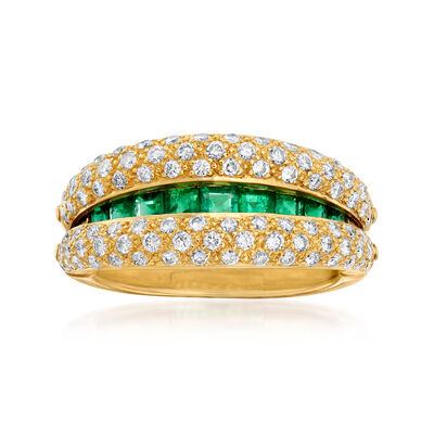 C. 1980 Vintage 1.35 ct. t.w. Emerald and .80 ct. t.w. Diamond Ring in 18kt Yellow Gold, , default