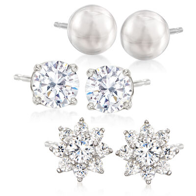 1.30 ct. t.w. CZ Jewelry Set: Three Pairs of Stud Earrings in Sterling Silver