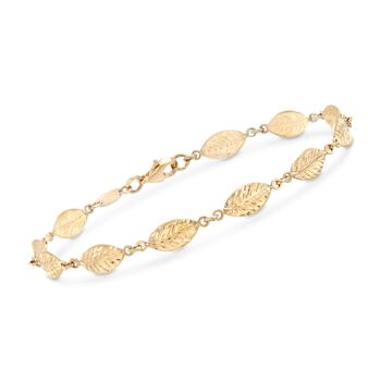 14kt Yellow Gold Diamond-Cut Leaf-Link Bracelet, , default