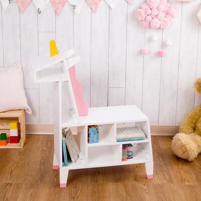 "Child's ""Zoo Kingdom"" Unicorn Play Shelf in White and Pink"