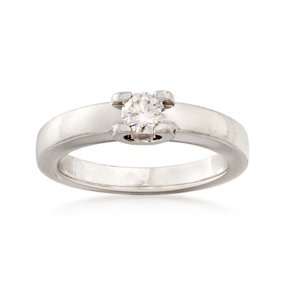C. 2000 Vintage Cartier .26 Carat Diamond Solitaire Ring in Platinum, , default