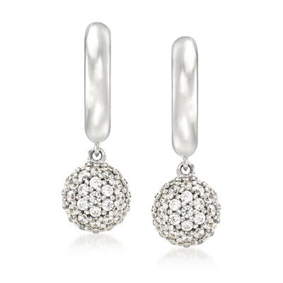 "Belle Etoile ""Lunetta"" .30 ct. t.w. CZ Drop Earrings in Sterling Silver, , default"
