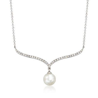 6mm Cultured Pearl and Diamond-Accented Curved Bar Necklace in 14kt White Gold