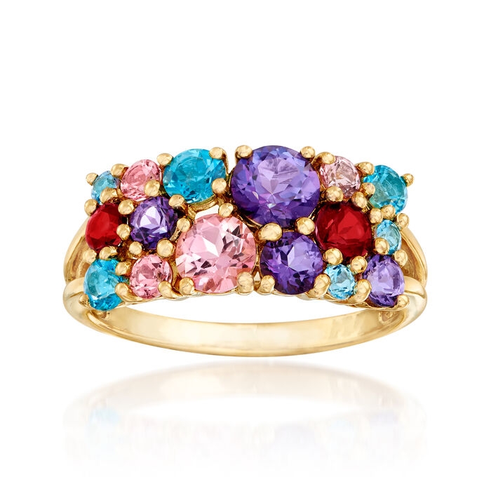 2.10 ct. t.w. Multicolored Swarovski Topaz Ring in 18kt Yellow Gold Over Sterling, , default