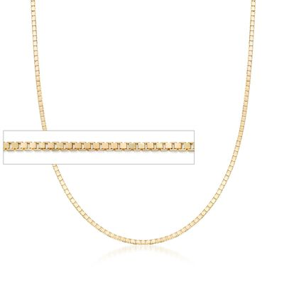 1mm 14kt Yellow Gold Box Chain Necklace