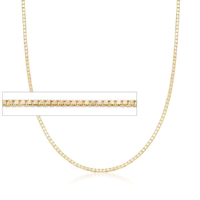 1mm 14kt Yellow Gold Box Chain Necklace, , default