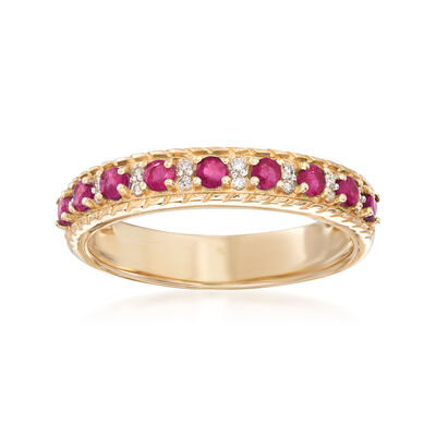 .40 ct. t.w. Ruby Ring with Diamond Accents in 14kt Yellow Gold, , default