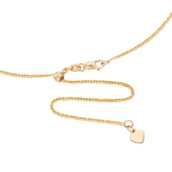 """1mm 14kt Yellow Gold Adjustable Wheat Chain Necklace. 22"""""""