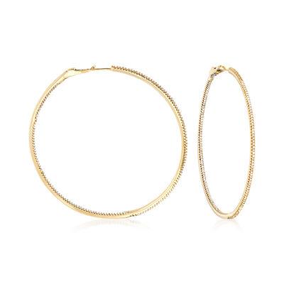 1.50 ct. t.w. Diamond Inside-Outside Large Hoop Earrings, , default