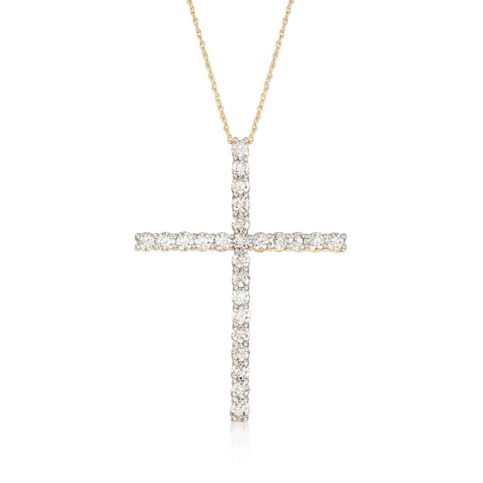 2.00 ct. t.w. Diamond Cross Pendant Necklace in 14kt Yellow Gold, , default