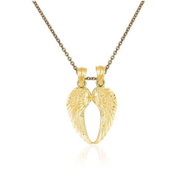 """14kt Yellow Gold Wings Pendant Necklace. 18"""", , default"""