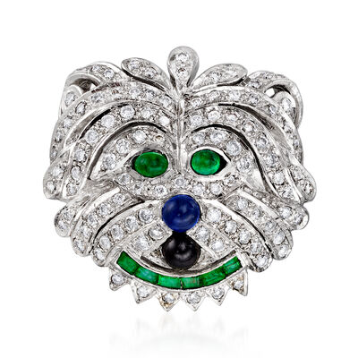 C. 1990 Vintage 1.00 ct. t.w. Diamond and .54 ct. t.w. Multi-Gemstone Lion Pin/Pendant in 18kt White Gold