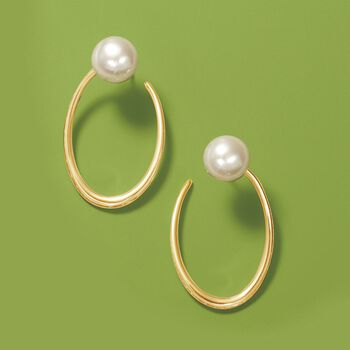 """11.5-12mm Cultured Pearl Front-Facing Hoop Earrings in 18kt Gold Over Sterling. 1 3/8"""", , default"""