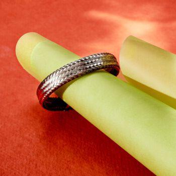 """Italian Gunmetal Sterling Silver Woven Bracelet. 7.5"""", , default"""