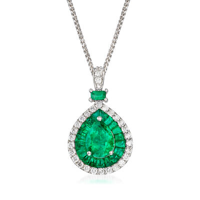 3.20 ct. t.w. Emerald and .60 ct. t.w. Diamond Pendant Necklace in 14kt White Gold, , default