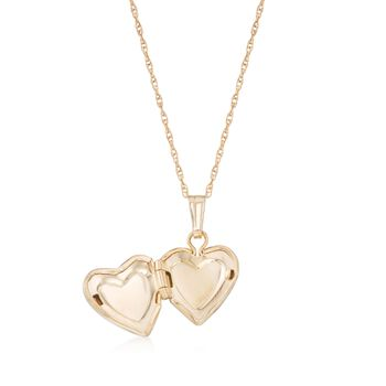 "Baby's 14kt Yellow Gold Cross Heart Locket Necklace. 13"", , default"