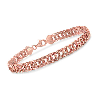 14kt Rose Gold Double Oval-Link Bracelet, , default
