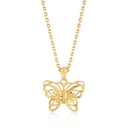 22kt Yellow Gold Butterfly Pendant Necklace, , default