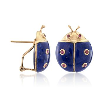 Lapis and .60 ct. t.w. Ruby Ladybug Earrings in 14kt Yellow Gold, , default