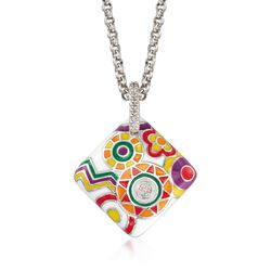 "Belle Etoile ""Constellations: Fiesta"" Enamel and .15 ct. t.w. CZ Pendant in Sterling Silver, , default"