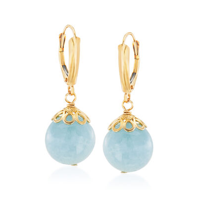16.00 ct. t.w. Aquamarine Drop Earrings in 14kt Yellow Gold