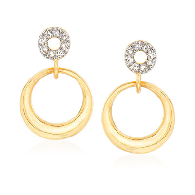 14kt Yellow Gold Open-Circle Drop Earrings with Diamond Accents, , default