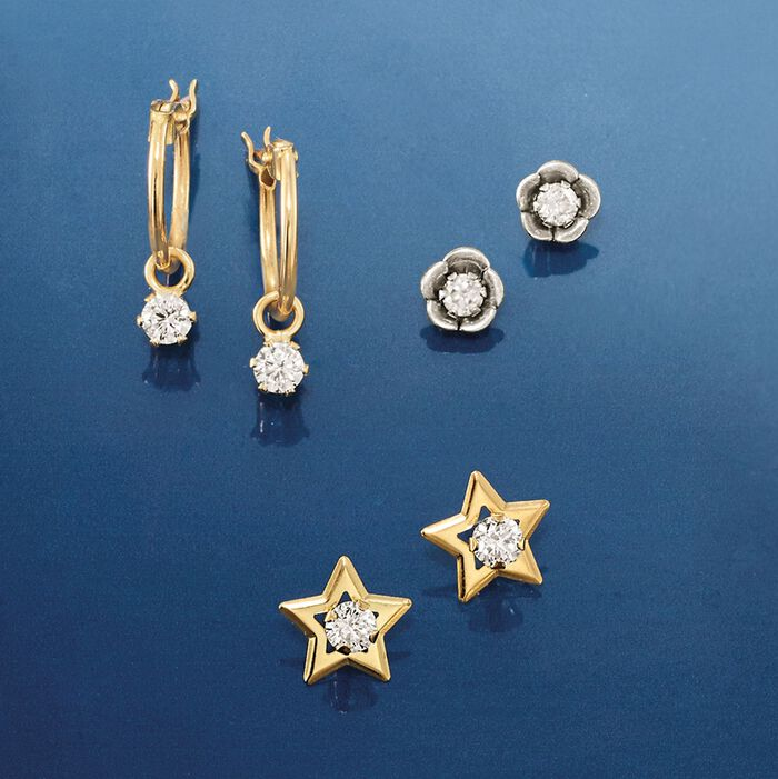 Child's .20 ct. t.w. CZ Hoop Earrings in 14kt Yellow Gold