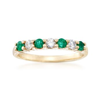 .30 ct. t.w. Emerald and .20 ct. t.w. Diamond Ring in 14kt Yellow Gold, , default
