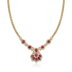 C. 1990 Vintage 4.74 ct. t.w. Ruby and 4.15 ct. t.w. Diamond Cluster Necklace in 18kt Yellow Gold, , default