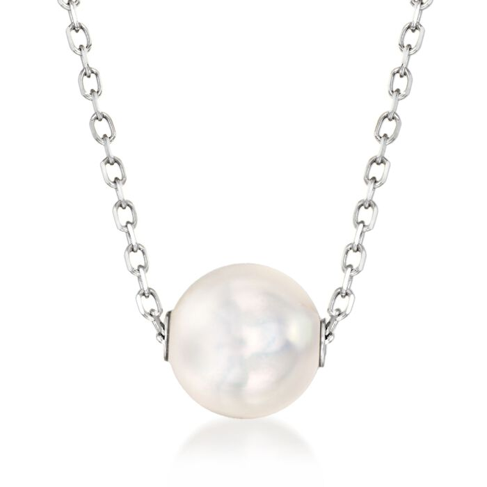 """Mikimoto 8mm A+ Akoya Pearl Necklace in 18kt White Gold. 16"""", , default"""