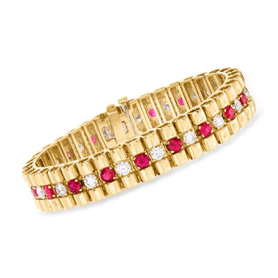 C. 1980 Vintage 4.75 ct. t.w. Ruby and 3.80 ct. t.w. Diamond Bracelet in 14kt Yellow Gold