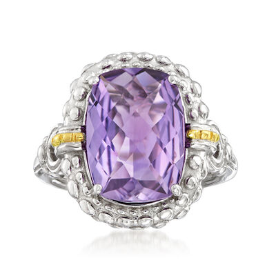"Phillip Gavriel ""Popcorn"" 5.00 Carat Amethyst Ring in Sterling Silver and 18kt Gold"