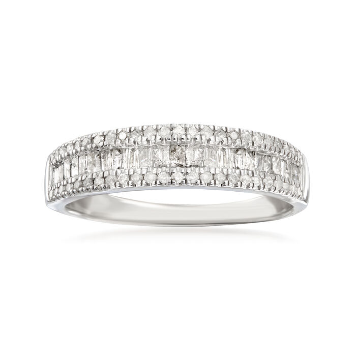 .50 ct. t.w. Baguette and Round Diamond Ring in Sterling Silver, , default